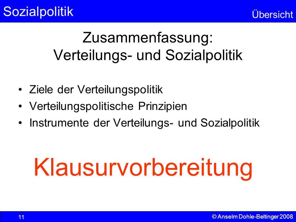 Sozialpolitik Übersicht © Anselm Dohle-Beltinger 2008 11 Zusammenfassung: Verteilungs- und Sozialpolitik Ziele der Verteilungspolitik Verteilungspolit