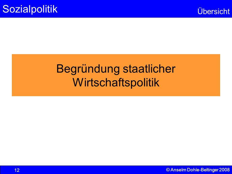 Sozialpolitik Übersicht © Anselm Dohle-Beltinger 2008 12 Begründung staatlicher Wirtschaftspolitik