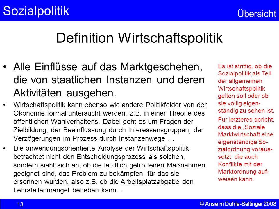 Sozialpolitik Übersicht © Anselm Dohle-Beltinger 2008 13 Definition Wirtschaftspolitik Alle Einflüsse auf das Marktgeschehen, die von staatlichen Inst