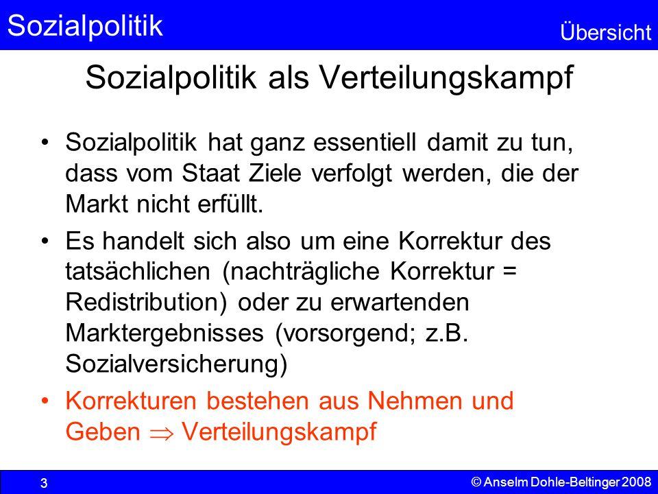 Sozialpolitik Übersicht © Anselm Dohle-Beltinger 2008 3 Sozialpolitik als Verteilungskampf Sozialpolitik hat ganz essentiell damit zu tun, dass vom St