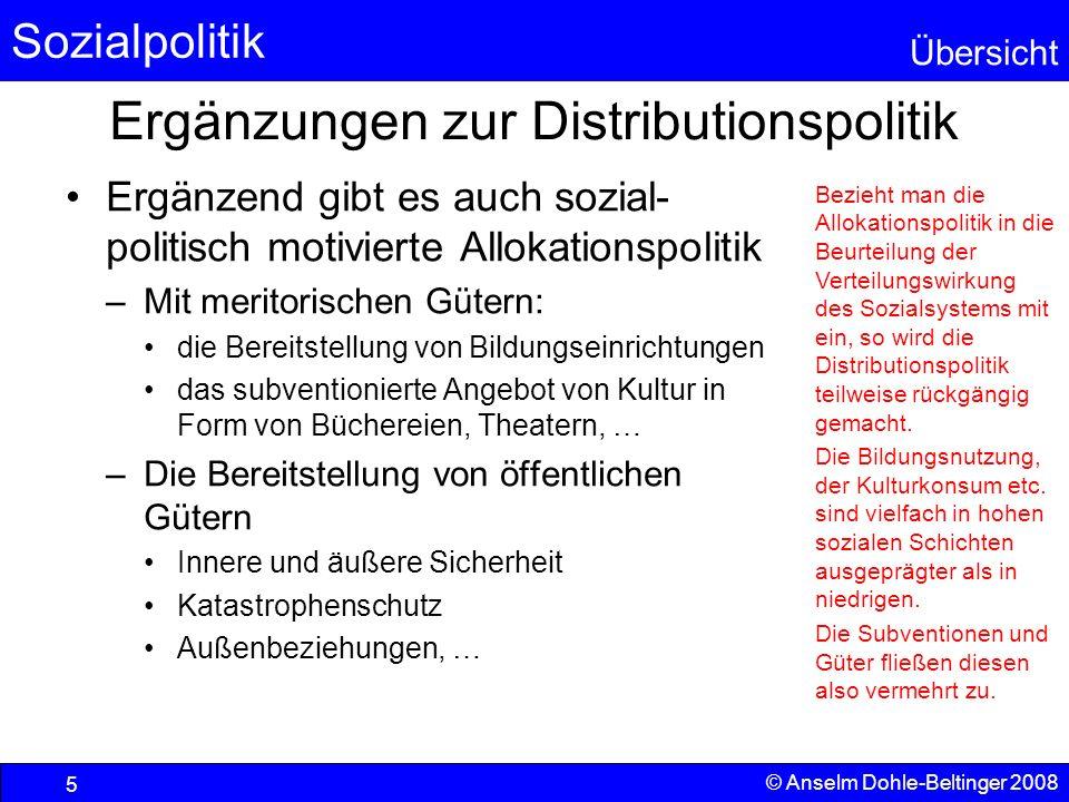 Sozialpolitik Übersicht © Anselm Dohle-Beltinger 2008 5 Ergänzungen zur Distributionspolitik Ergänzend gibt es auch sozial- politisch motivierte Allok