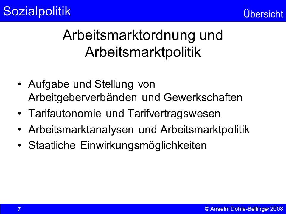 Sozialpolitik Übersicht © Anselm Dohle-Beltinger 2008 18 Ordnungsaufgaben des Staates Markteingriffe –Der Arbeitsmarkt und Teile des Agrarmarktes (Milch) gelten als unfähig, ein Marktgleichgewicht in wünschenswerter Form herbeizuführen.