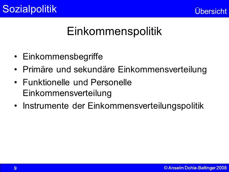 Sozialpolitik Übersicht © Anselm Dohle-Beltinger 2008 9 Einkommenspolitik Einkommensbegriffe Primäre und sekundäre Einkommensverteilung Funktionelle u