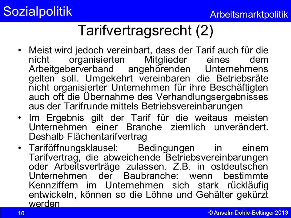 Sozialpolitik Arbeitsmarktpolitik © Anselm Dohle-Beltinger 2013 10 Tarifvertragsrecht (2) Meist wird jedoch vereinbart, dass der Tarif auch für die ni