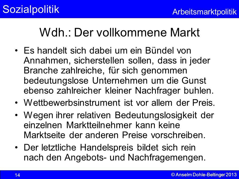 Sozialpolitik Arbeitsmarktpolitik © Anselm Dohle-Beltinger 2013 14 Wdh.: Der vollkommene Markt Es handelt sich dabei um ein Bündel von Annahmen, siche