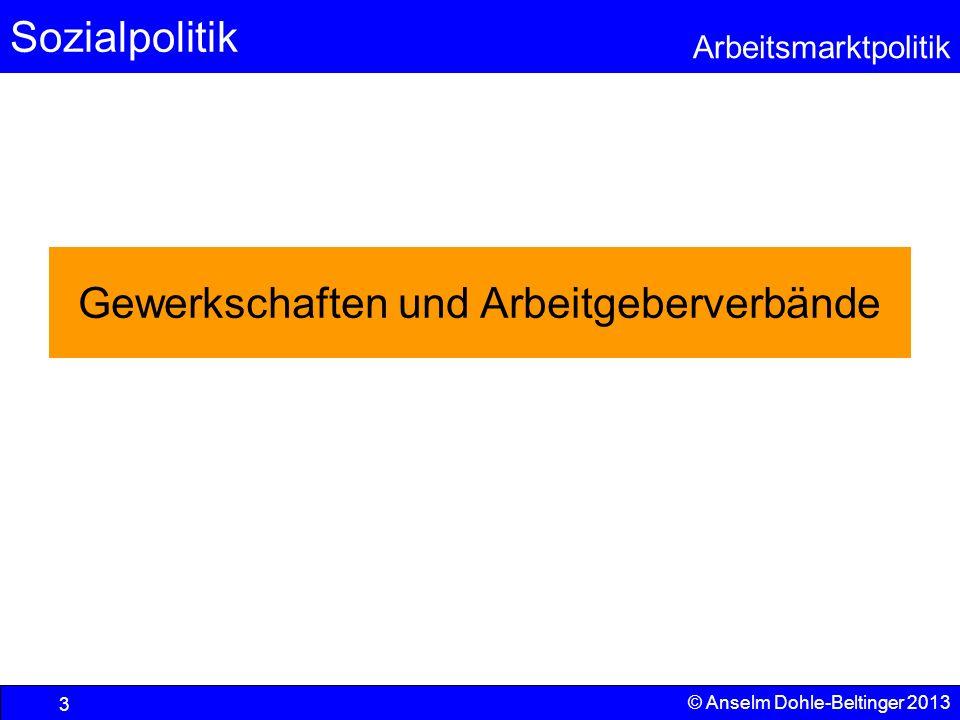 Sozialpolitik Arbeitsmarktpolitik © Anselm Dohle-Beltinger 2013 3 Gewerkschaften und Arbeitgeberverbände