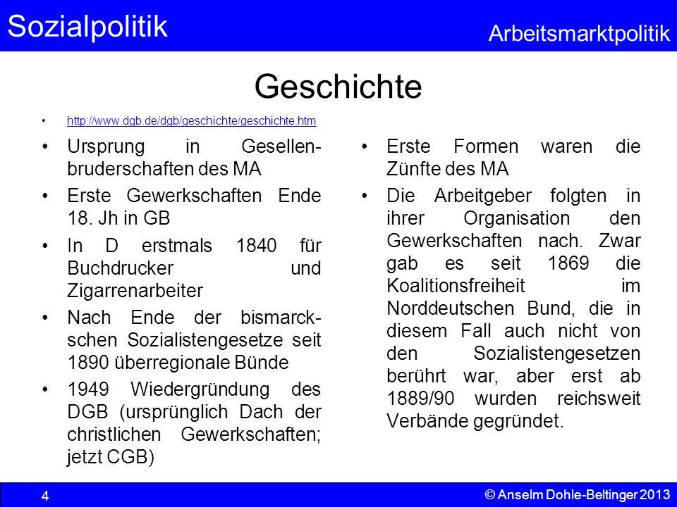 Sozialpolitik Arbeitsmarktpolitik © Anselm Dohle-Beltinger 2013 4 Geschichte http://www.dgb.de/dgb/geschichte/geschichte.htm Ursprung in Gesellen- bru