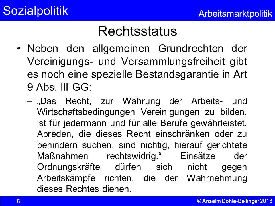 Sozialpolitik Arbeitsmarktpolitik © Anselm Dohle-Beltinger 2013 5 Rechtsstatus Neben den allgemeinen Grundrechten der Vereinigungs- und Versammlungsfr
