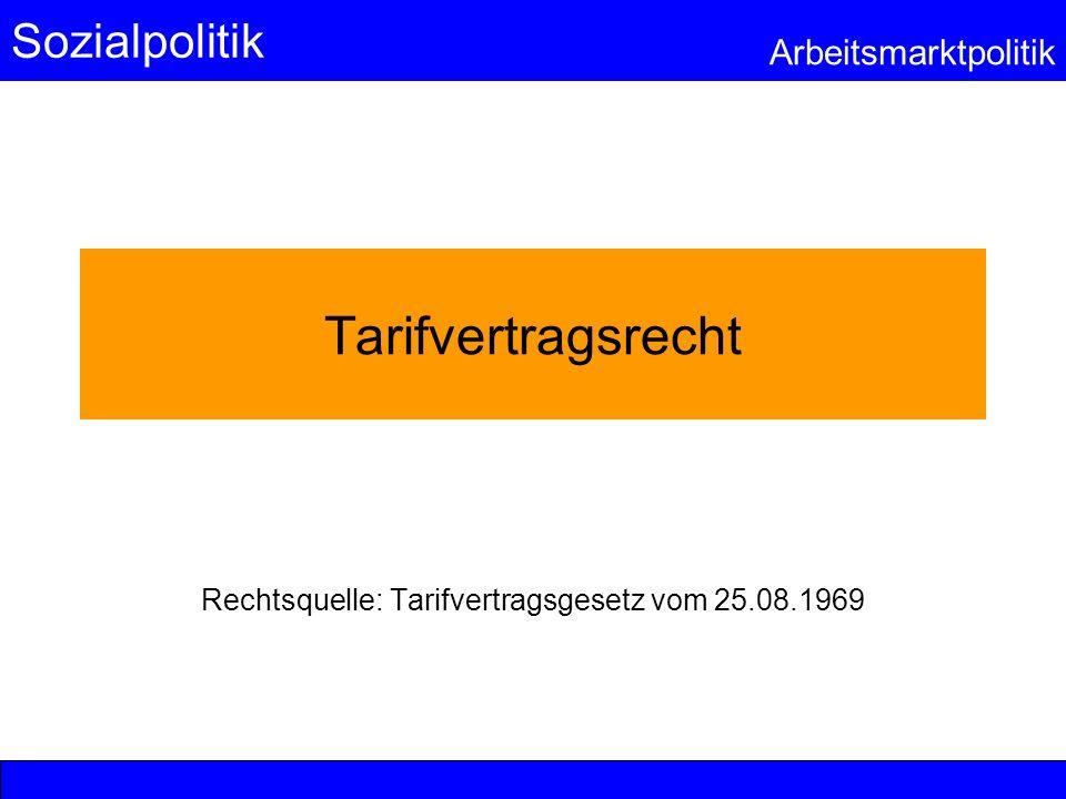 Sozialpolitik Arbeitsmarktpolitik Tarifvertragsrecht Rechtsquelle: Tarifvertragsgesetz vom 25.08.1969