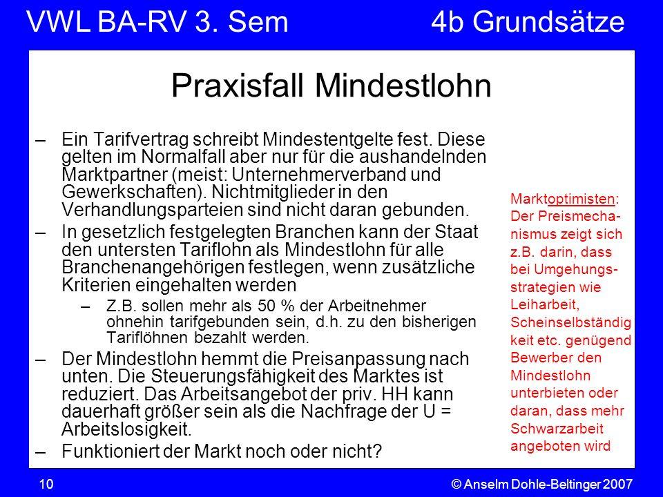 VWL BA-RV 3. SemVGR & Makro © Anselm Dohle-Beltinger 200710 Praxisfall Mindestlohn –Ein Tarifvertrag schreibt Mindestentgelte fest. Diese gelten im No