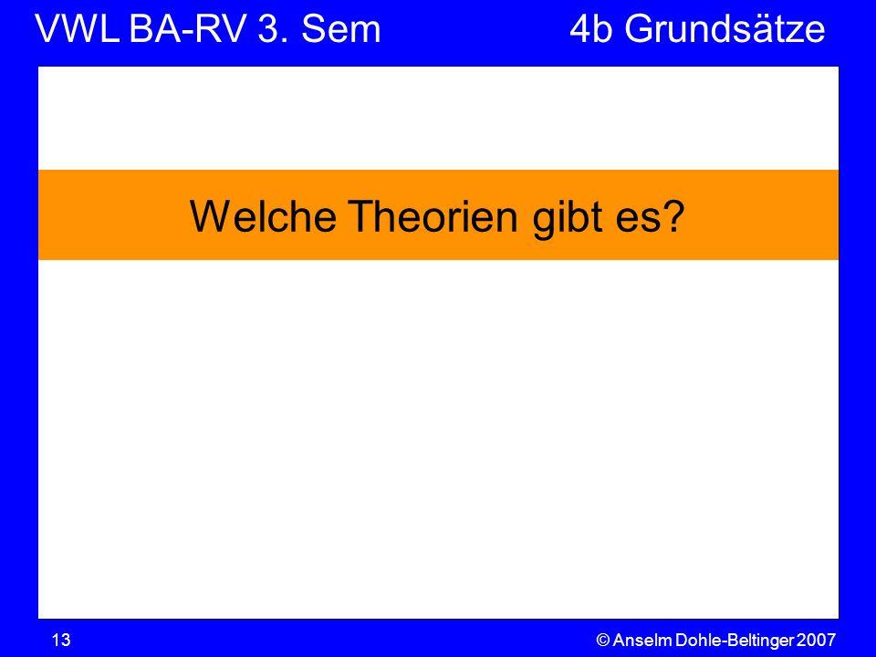 VWL BA-RV 3. SemVGR & Makro © Anselm Dohle-Beltinger 200713 Welche Theorien gibt es? 4b Grundsätze