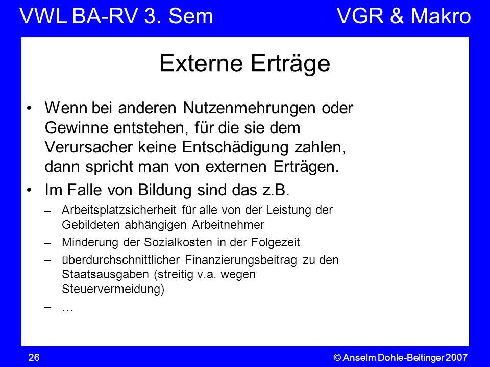 VWL BA-RV 3. SemVGR & Makro © Anselm Dohle-Beltinger 200726 Externe Erträge Wenn bei anderen Nutzenmehrungen oder Gewinne entstehen, für die sie dem V