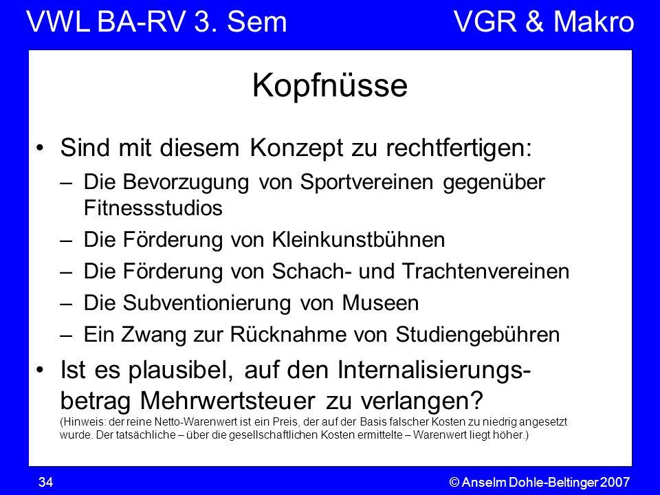 VWL BA-RV 3. SemVGR & Makro © Anselm Dohle-Beltinger 200734 Kopfnüsse Sind mit diesem Konzept zu rechtfertigen: –Die Bevorzugung von Sportvereinen geg