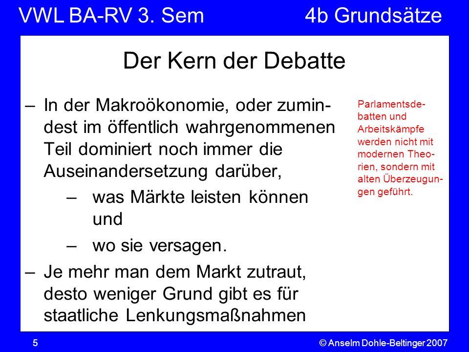 VWL BA-RV 3. SemVGR & Makro © Anselm Dohle-Beltinger 20075 Der Kern der Debatte –In der Makroökonomie, oder zumin- dest im öffentlich wahrgenommenen T