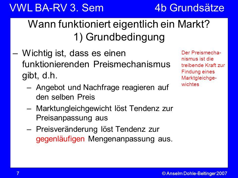 VWL BA-RV 3. SemVGR & Makro © Anselm Dohle-Beltinger 20077 Wann funktioniert eigentlich ein Markt? 1) Grundbedingung –Wichtig ist, dass es einen funkt