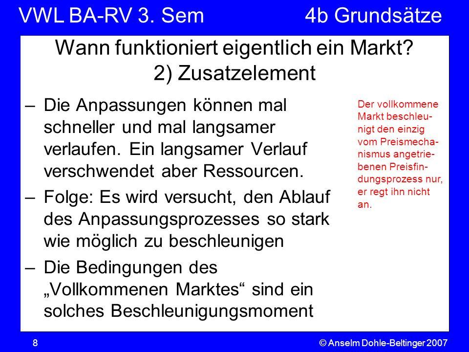 VWL BA-RV 3. SemVGR & Makro © Anselm Dohle-Beltinger 20078 Wann funktioniert eigentlich ein Markt? 2) Zusatzelement –Die Anpassungen können mal schnel