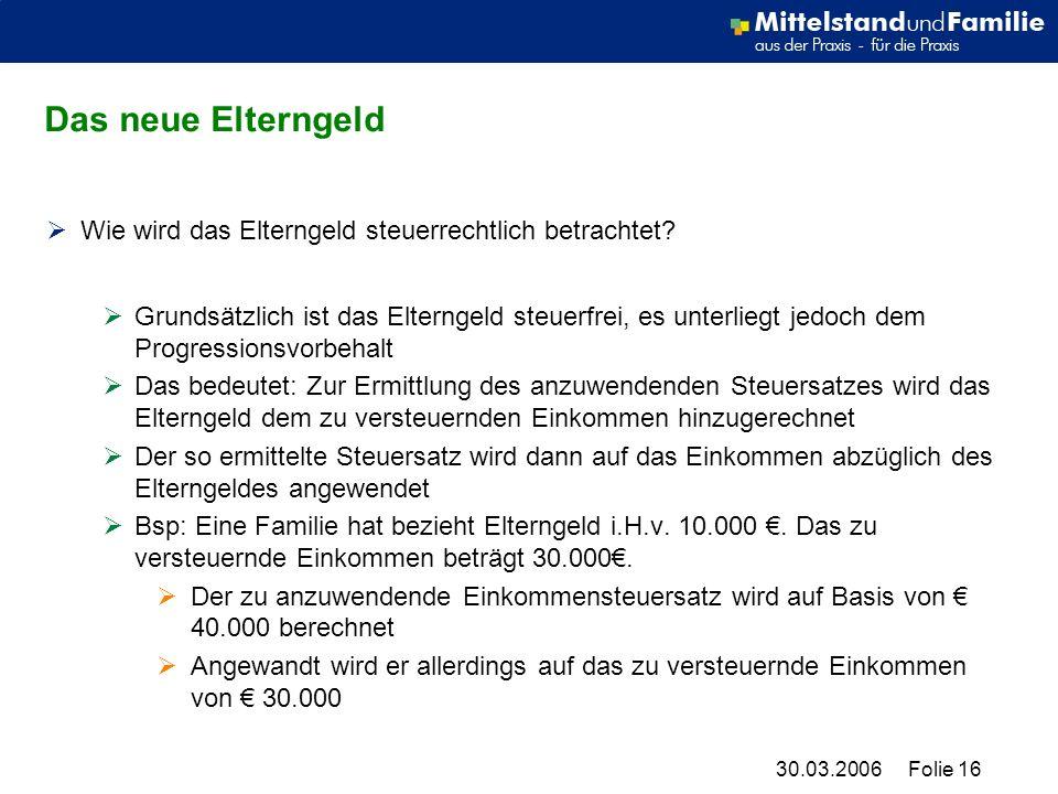 30.03.2006Folie 16 Das neue Elterngeld Wie wird das Elterngeld steuerrechtlich betrachtet.
