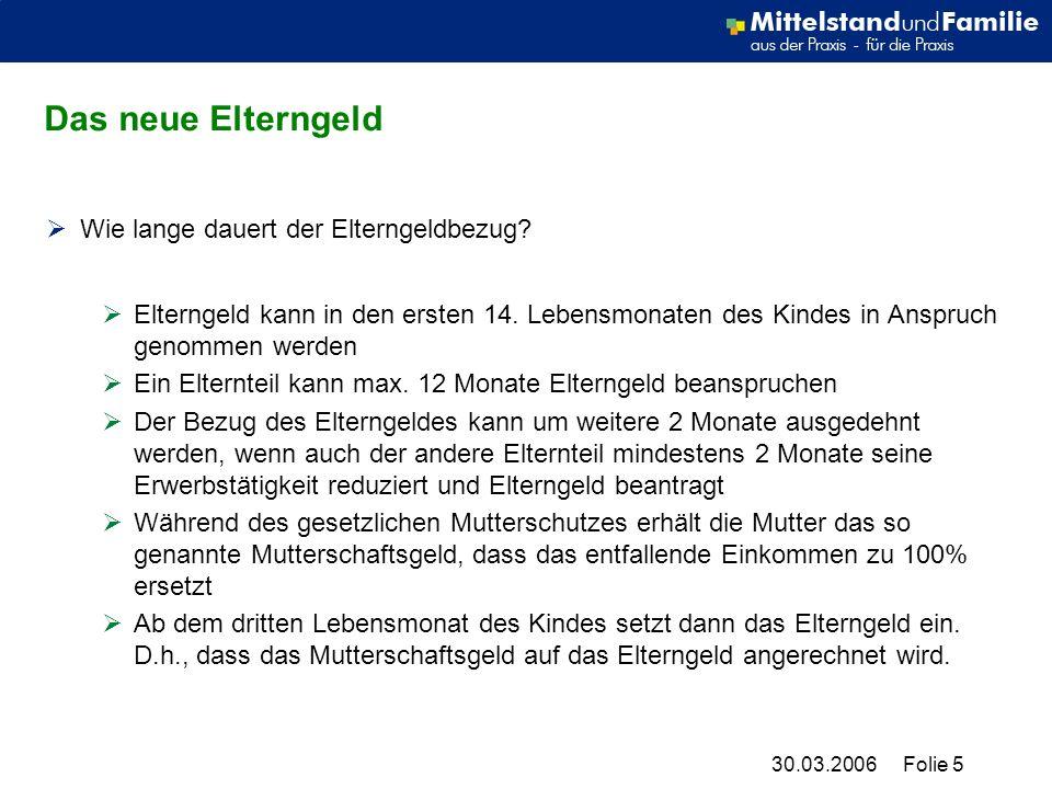 30.03.2006Folie 5 Das neue Elterngeld Wie lange dauert der Elterngeldbezug.