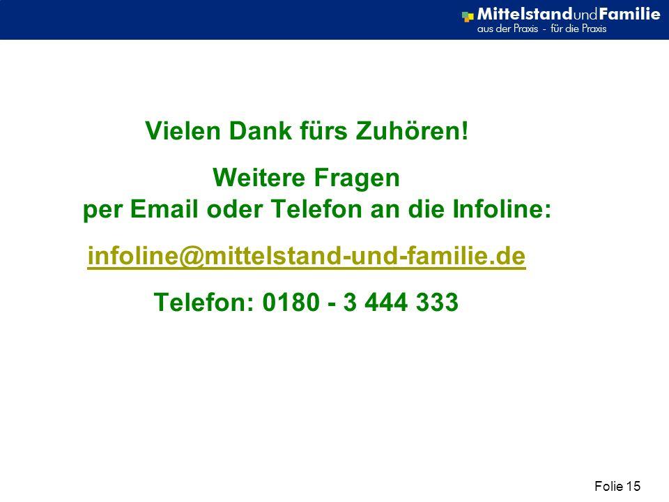 Folie 15 Vielen Dank fürs Zuhören! Weitere Fragen per Email oder Telefon an die Infoline: infoline@mittelstand-und-familie.de Telefon: 0180 - 3 444 33