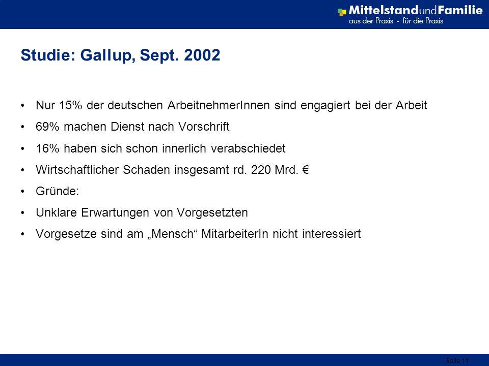 Seite 11 Studie: Gallup, Sept. 2002 Nur 15% der deutschen ArbeitnehmerInnen sind engagiert bei der Arbeit 69% machen Dienst nach Vorschrift 16% haben