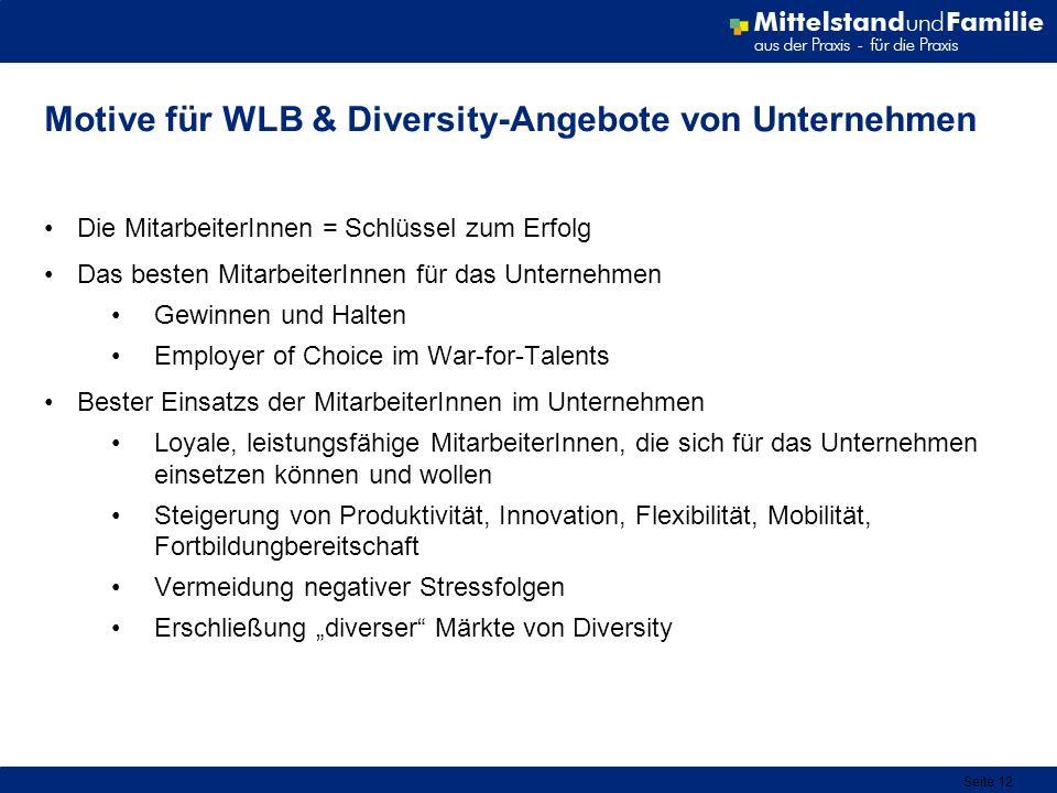 Seite 12 Motive für WLB & Diversity-Angebote von Unternehmen Die MitarbeiterInnen = Schlüssel zum Erfolg Das besten MitarbeiterInnen für das Unternehm