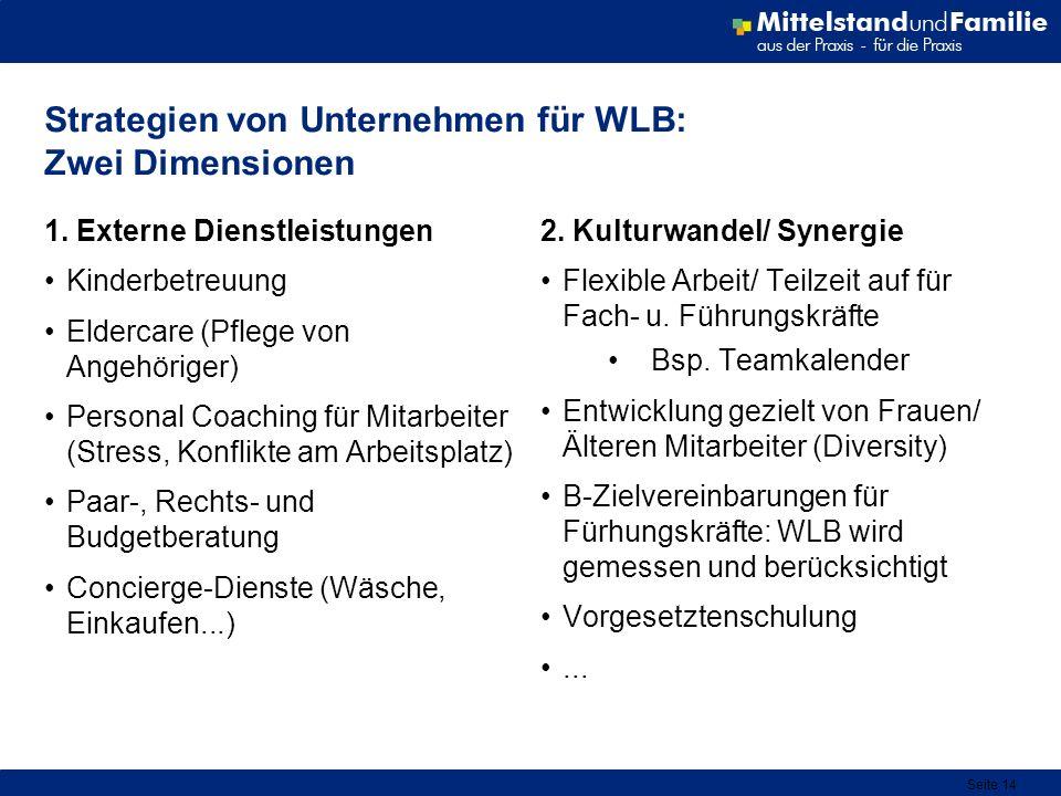 Seite 14 Strategien von Unternehmen für WLB: Zwei Dimensionen 1. Externe Dienstleistungen Kinderbetreuung Eldercare (Pflege von Angehöriger) Personal