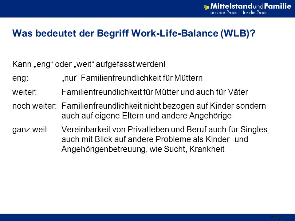 Seite 2 Was bedeutet der Begriff Work-Life-Balance (WLB)? Kann eng oder weit aufgefasst werden! eng:nur Familienfreundlichkeit für Müttern weiter: Fam