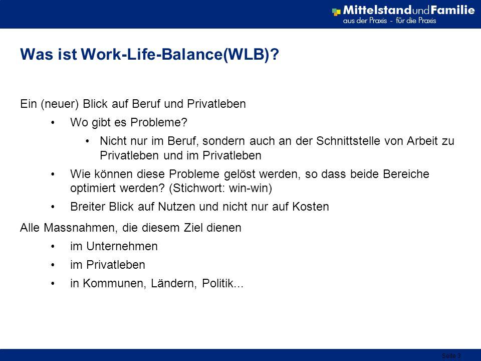 Seite 3 Was ist Work-Life-Balance(WLB)? Ein (neuer) Blick auf Beruf und Privatleben Wo gibt es Probleme? Nicht nur im Beruf, sondern auch an der Schni