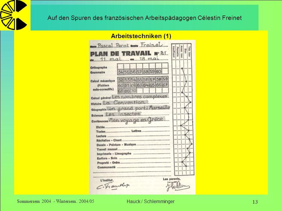 Sommersem 2004 - Wintersem. 2004/05Hauck / Schlemminger 13 Auf den Spuren des französischen Arbeitspädagogen Célestin Freinet Arbeitstechniken (1)