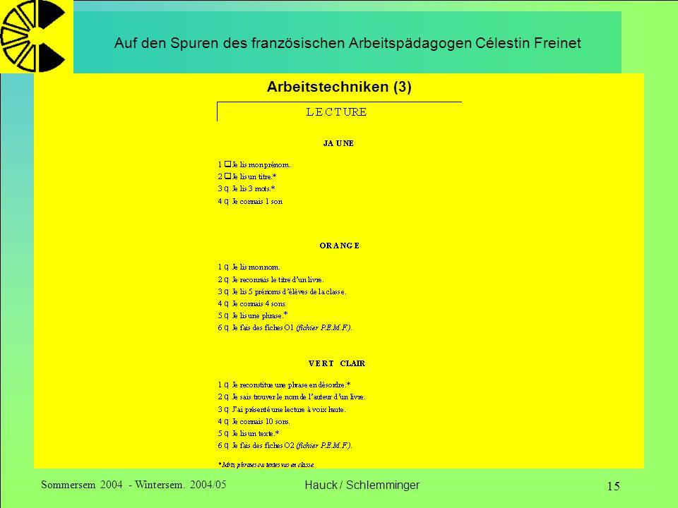 Sommersem 2004 - Wintersem. 2004/05Hauck / Schlemminger 15 Auf den Spuren des französischen Arbeitspädagogen Célestin Freinet Arbeitstechniken (3)