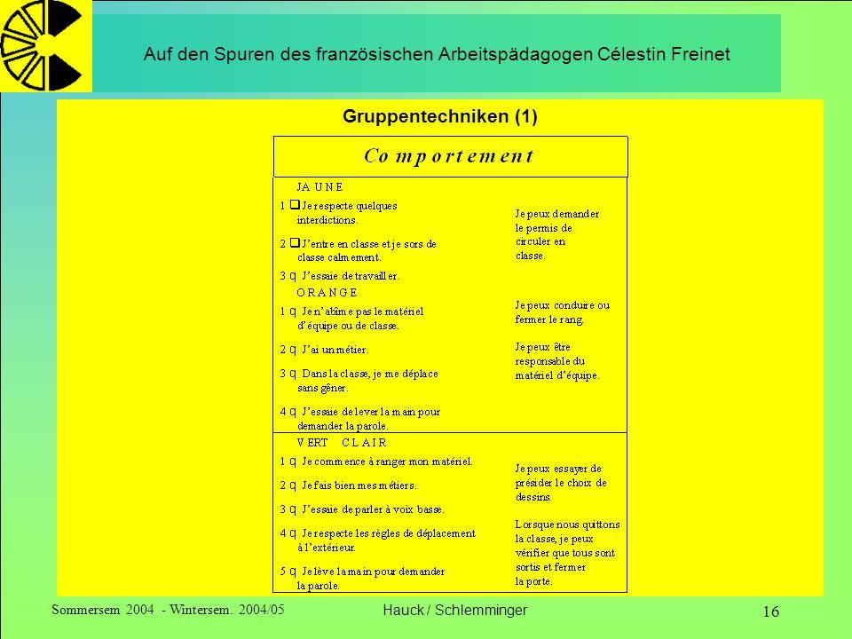Sommersem 2004 - Wintersem. 2004/05Hauck / Schlemminger 16 Auf den Spuren des französischen Arbeitspädagogen Célestin Freinet Gruppentechniken (1)