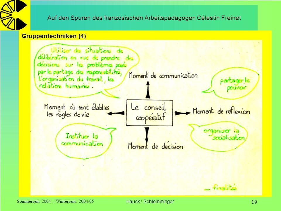 Sommersem 2004 - Wintersem. 2004/05Hauck / Schlemminger 19 Auf den Spuren des französischen Arbeitspädagogen Célestin Freinet Gruppentechniken (4)