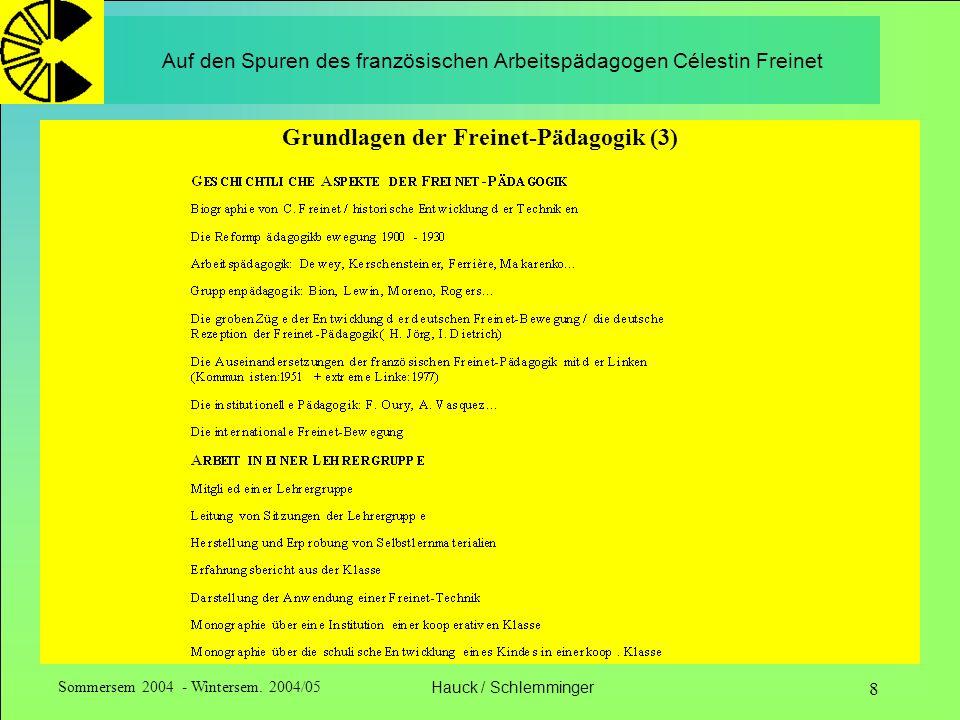 Sommersem 2004 - Wintersem. 2004/05Hauck / Schlemminger 8 Auf den Spuren des französischen Arbeitspädagogen Célestin Freinet Grundlagen der Freinet-Pä