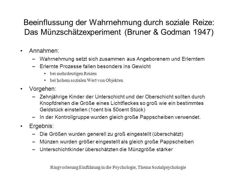 Ringvorlesung Einführung in die Psychologie, Thema Sozialpsychologie Konformität: Das Linienschätzexperiment (Asch 1956) Welche von 3 Vergleichslinien entspricht der Standardlinie.