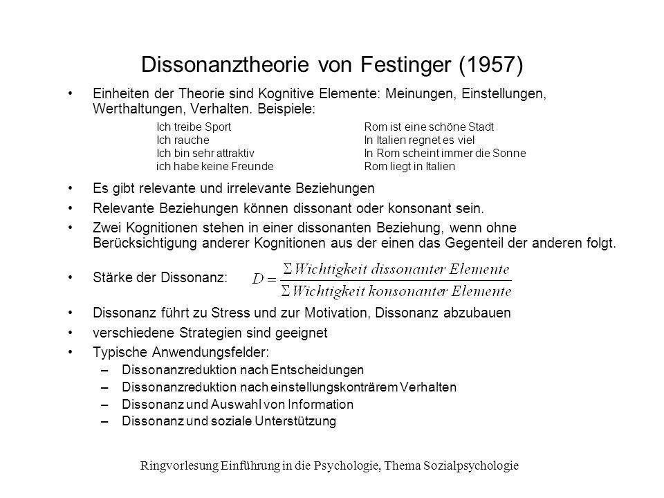 Ringvorlesung Einführung in die Psychologie, Thema Sozialpsychologie Dissonanztheorie von Festinger (1957) Einheiten der Theorie sind Kognitive Elemen