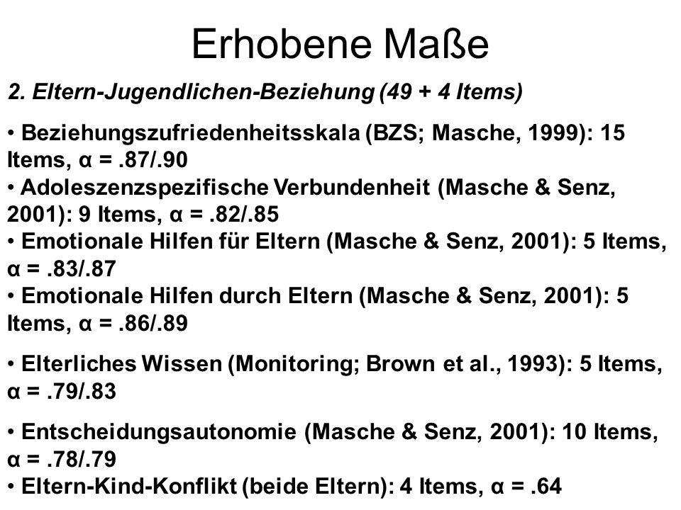 Erhobene Maße 2. Eltern-Jugendlichen-Beziehung (49 + 4 Items) Beziehungszufriedenheitsskala (BZS; Masche, 1999): 15 Items, α =.87/.90 Adoleszenzspezif
