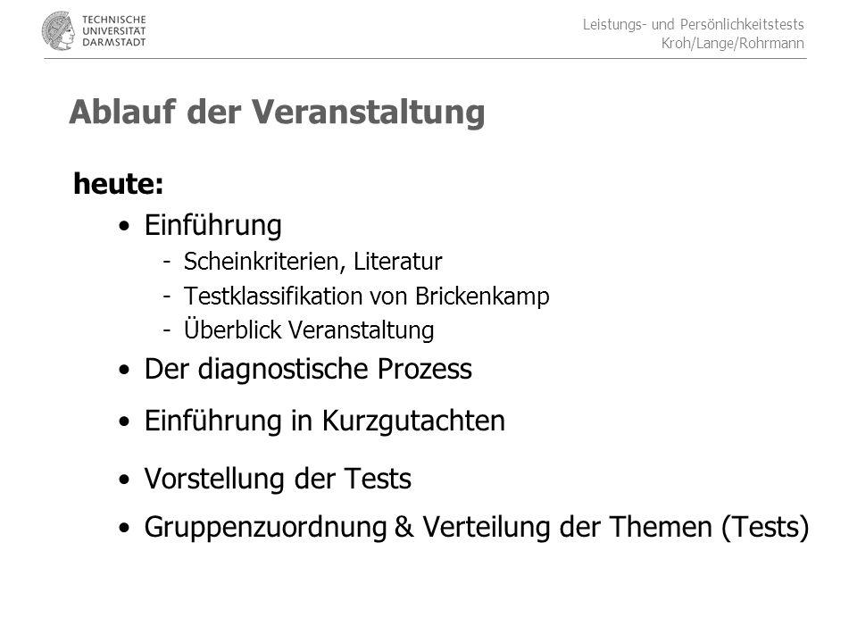 Leistungs- und Persönlichkeitstests Kroh/Lange/Rohrmann Aufbau des Kurzgutachtens 6.Befund/Resümee: Hier soll das Ergebnis der Testung auf die Fragestellung bezogen werden und abschließend zusammengefasst werden.