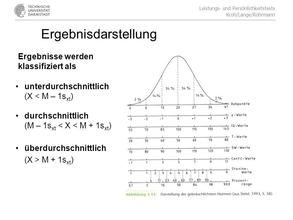 Leistungs- und Persönlichkeitstests Kroh/Lange/Rohrmann Ergebnisdarstellung Ergebnisse werden klassifiziert als unterdurchschnittlich (X < M – 1s xt ) durchschnittlich (M – 1s xt < X < M + 1s xt ) überdurchschnittlich (X > M + 1s xt )