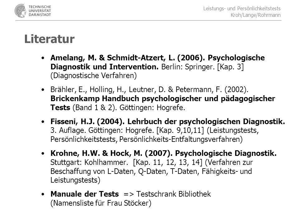 Leistungs- und Persönlichkeitstests Kroh/Lange/Rohrmann Aufbau des Kurzgutachtens 5.Ergebnisdarstellung & Interpretation: Die Daten sollen beschreibend dargestellt und in einer anschaulichen Weise umschrieben werden.