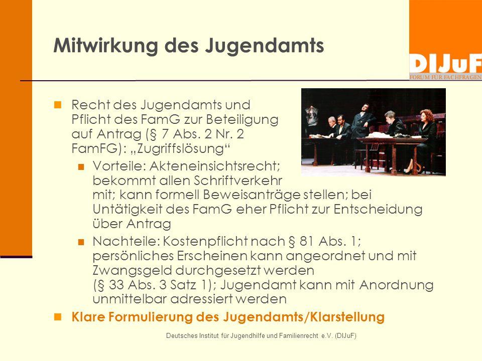 Deutsches Institut für Jugendhilfe und Familienrecht e.V. (DIJuF) Mitwirkung des Jugendamts Recht des Jugendamts und Pflicht des FamG zur Beteiligung