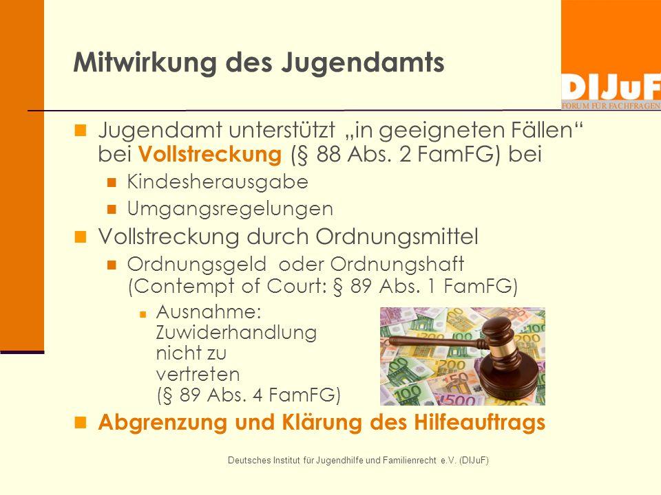 Deutsches Institut für Jugendhilfe und Familienrecht e.V. (DIJuF) Mitwirkung des Jugendamts Jugendamt unterstützt in geeigneten Fällen bei Vollstrecku