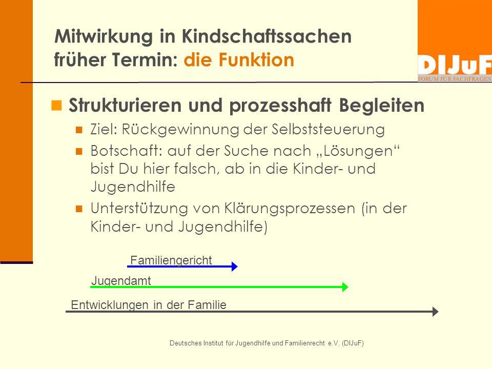 Deutsches Institut für Jugendhilfe und Familienrecht e.V. (DIJuF) Mitwirkung in Kindschaftssachen früher Termin: die Funktion Strukturieren und prozes