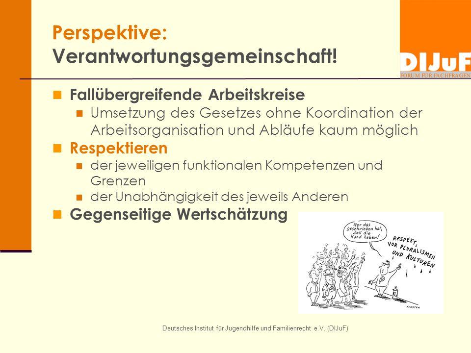 Deutsches Institut für Jugendhilfe und Familienrecht e.V. (DIJuF) Perspektive: Verantwortungsgemeinschaft! Fallübergreifende Arbeitskreise Umsetzung d