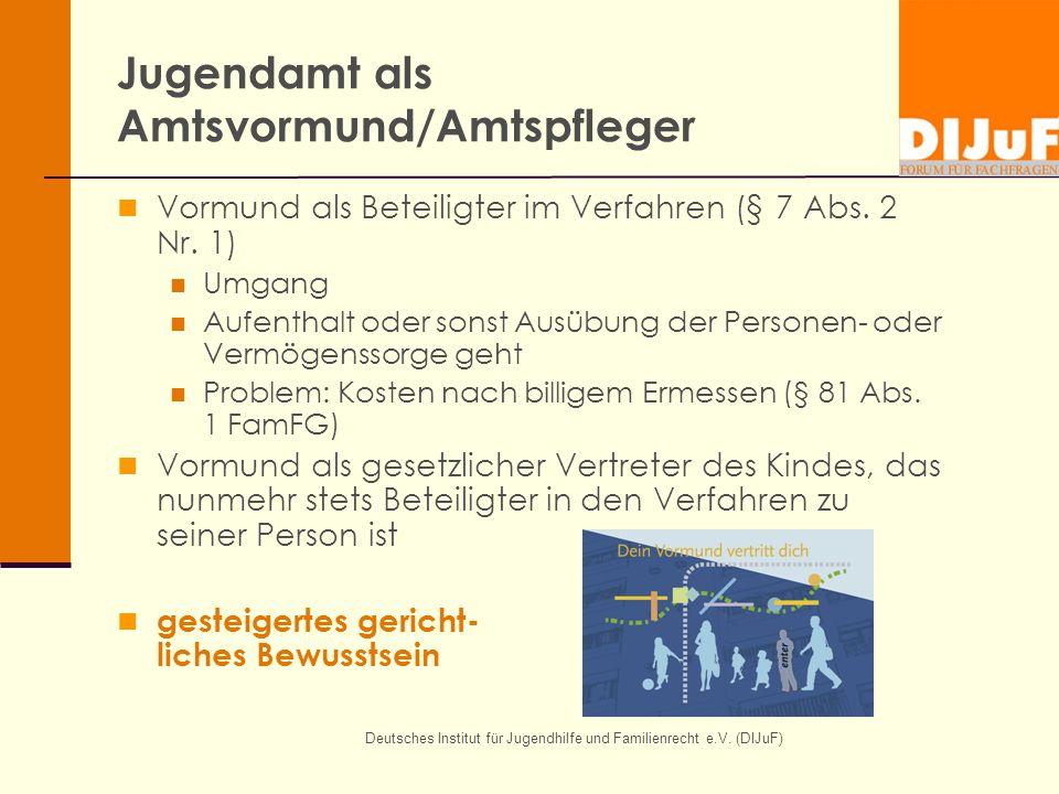 Deutsches Institut für Jugendhilfe und Familienrecht e.V. (DIJuF) Jugendamt als Amtsvormund/Amtspfleger Vormund als Beteiligter im Verfahren (§ 7 Abs.