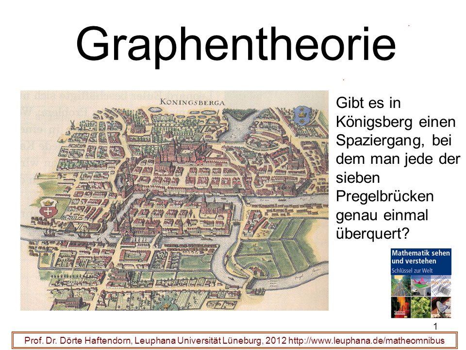 1 Graphentheorie Prof. Dr. Dörte Haftendorn, Leuphana Universität Lüneburg, 2012 http://www.leuphana.de/matheomnibus Gibt es in Königsberg einen Spazi