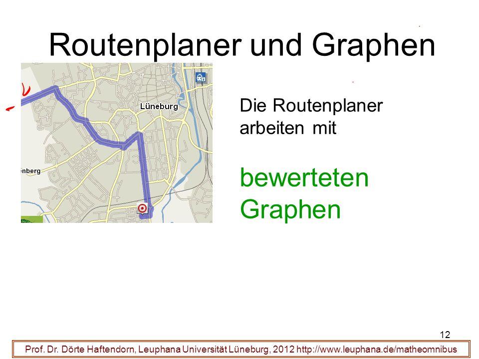 12 Routenplaner und Graphen Prof. Dr. Dörte Haftendorn, Leuphana Universität Lüneburg, 2012 http://www.leuphana.de/matheomnibus Die Routenplaner arbei