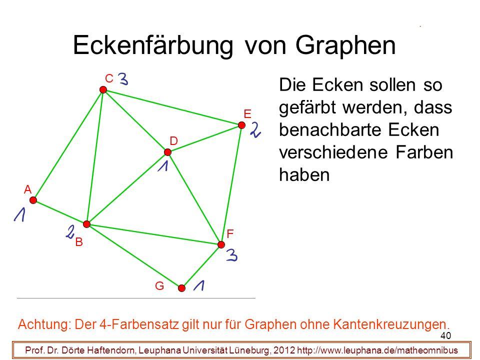40 Eckenfärbung von Graphen Prof. Dr. Dörte Haftendorn, Leuphana Universität Lüneburg, 2012 http://www.leuphana.de/matheomnibus Die Ecken sollen so ge