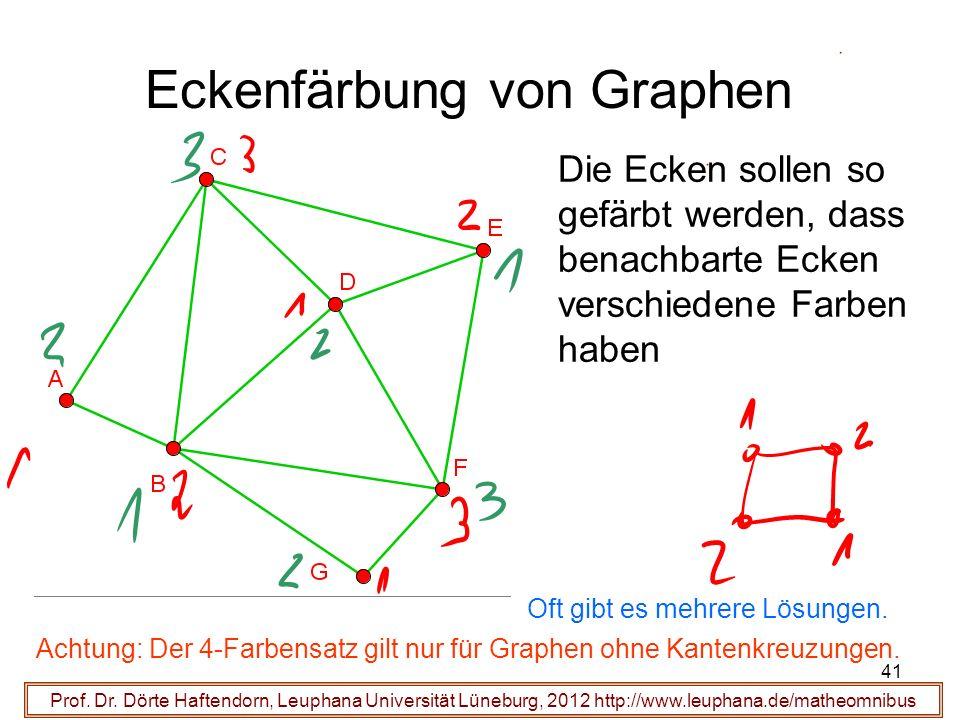 41 Eckenfärbung von Graphen Prof. Dr. Dörte Haftendorn, Leuphana Universität Lüneburg, 2012 http://www.leuphana.de/matheomnibus Die Ecken sollen so ge