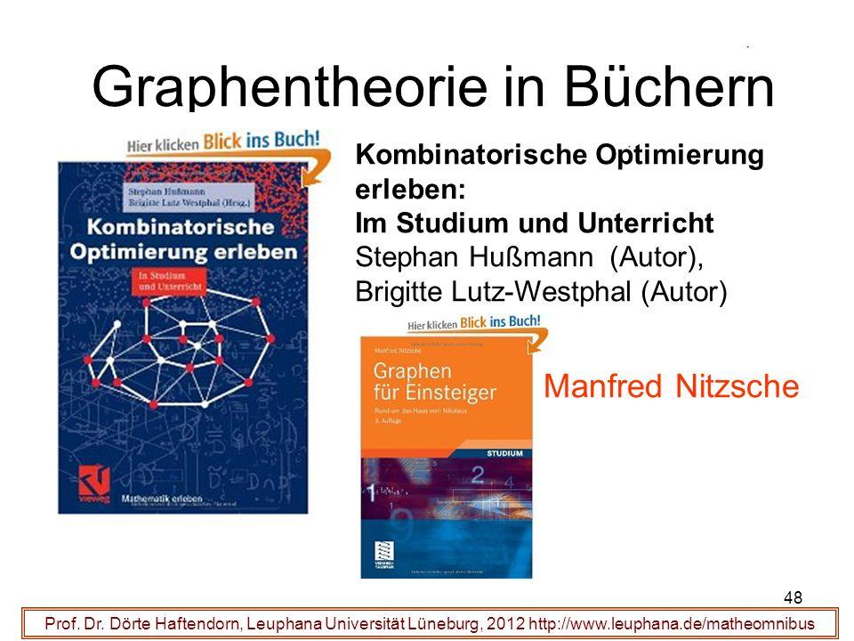 48 Graphentheorie in Büchern Prof. Dr. Dörte Haftendorn, Leuphana Universität Lüneburg, 2012 http://www.leuphana.de/matheomnibus Kombinatorische Optim