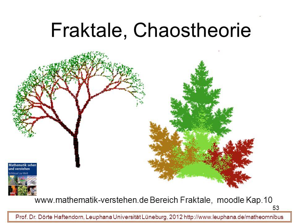 53 Fraktale, Chaostheorie Prof. Dr. Dörte Haftendorn, Leuphana Universität Lüneburg, 2012 http://www.leuphana.de/matheomnibus www.mathematik-verstehen